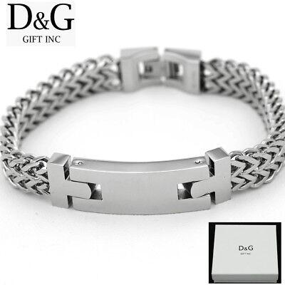 """DG Men's 8.5"""" Silver Stainless-Steel 14mm Width Franco Buckle Bracelet + BOX"""