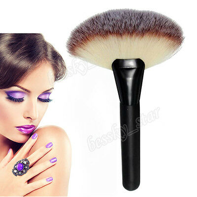 Damen Pro Make-up groß Fan Ziegen Haar Rouge Gesichtspuder Grundierung