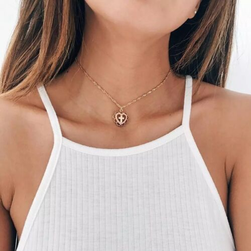 Heart Cross Pendant Necklace Silver or Gold Plated Choker Women Girl 15″+2″ N120 Fashion Jewelry