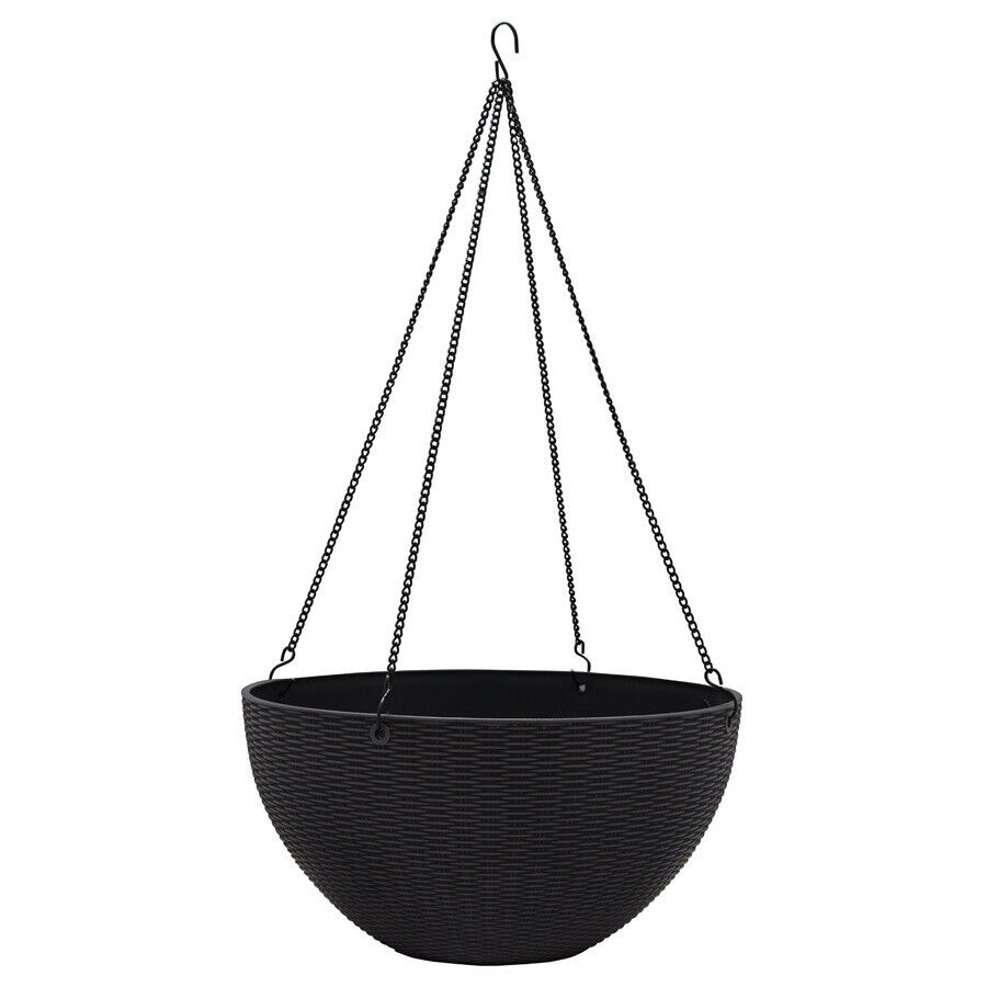 Charcoal Gray Hanging Basket Planter Self-Watering Durable R