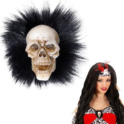 BROSCHE TOTENKOPF # Voodoo Anstecker Hexe Piraten Halloween Schmuck Kostüm 5341 (Voodoo Kostüm Schmuck)