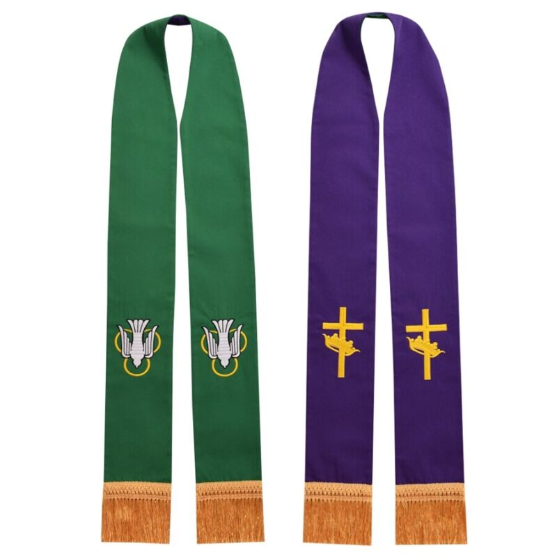 Catholic Stole Priest Reversible Stole Tasseled Bird Cross Embroidered Stole