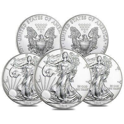 Lot of 5 - 2019 1 oz Silver American Eagle $1 Coin BU