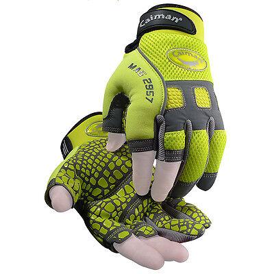 Caiman 2957 Finger Less Mechanic Gloves Hi-viz W Pull Tabs Reflective Trim Xl