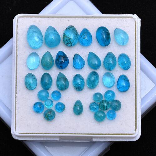 15.00 Cts/34 Pcs Natural Apatite Untreated 3mm-8mm Cabochon Loose Gemstones Lot