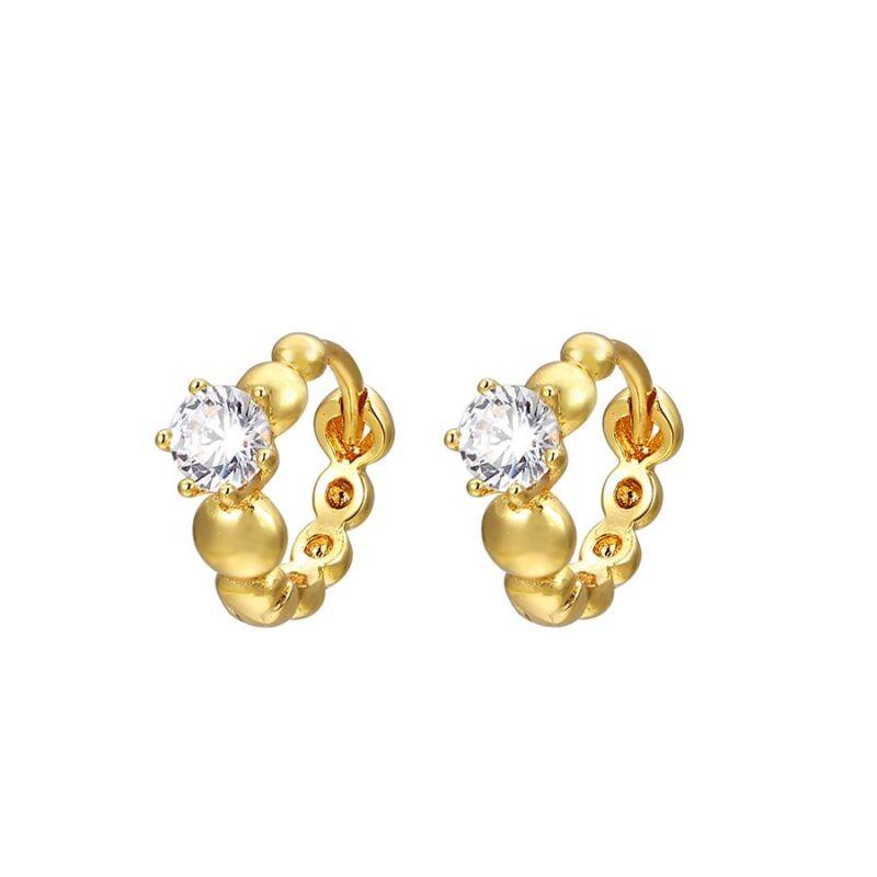 18k Gold Plated Small Clear CZ Crystal Girl Teen Women Hoop Huggie Earrings 11mm