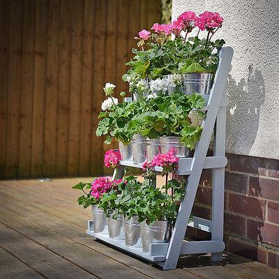 Wooden Garden Plant Theatre Display Stand 3 Tier Shelf Rack Flowers Blue Storage