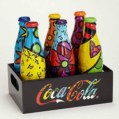 ROMERO BRITTO COCA-COLA: SET OF SIX COKE BOTTLES & CRATE DISPLAYER * GIFT BOXED