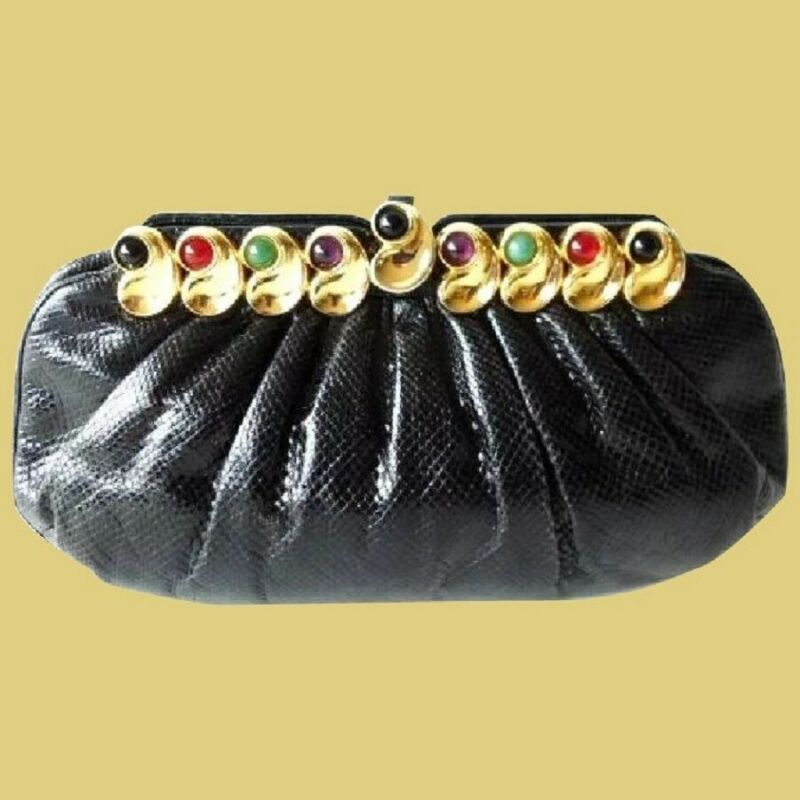 Judith Leiber Jeweled Black Karung Purse