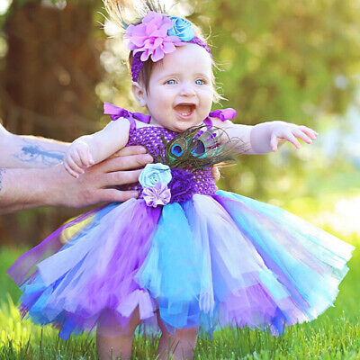 Rainbow Color Fluffy Peacock Baby Girls Tutu Dress Colorful Costumes For Kids](Peacock Dresses For Girls)