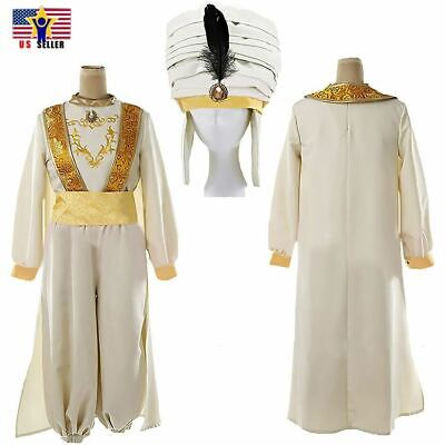 Aladdin Animation Arabian Prince Sultan Hat Cosplay Halloween Man Adam Costume