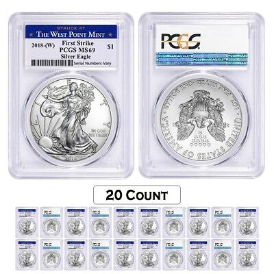 Lot of 20 - 2018 (W) 1 oz Silver American Eagle $1 Coin PCGS MS 69 FS West Point
