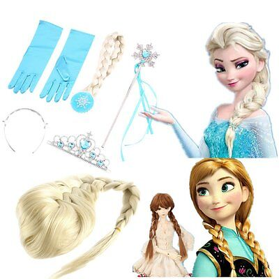 Frozen Princess Elsa Anna Gloves Tiara Crown Braid Wig Hair Wand Kid YJ - Anna Crown Frozen