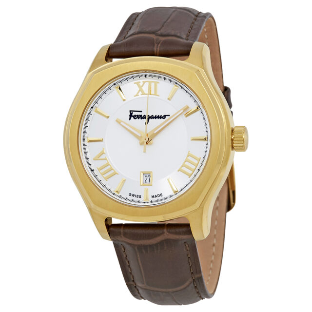 ferragamo men s fq1910015 lungarno gold ip luminous brown leather ferragamo lungarno silver dial mens watch fq1910015