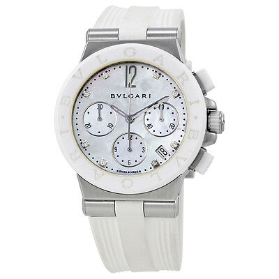 Bvlgari Diagono Chronograph White Mother of Pearl Diamond Dial Ladies Watch