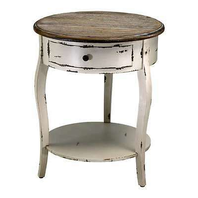 - French Country Abelard Side Accent Table With Shelf Cottage Shabby Chic