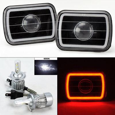 "7X6"" Black Projector Glass CCFL Red Halo Headlights & 6K 36W LED H4 Bulbs G/K"