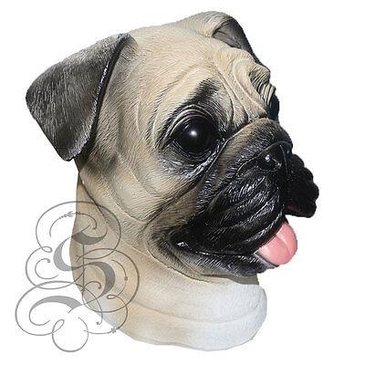Latex Ganzer Kopf Realistische House Haustier Mops Hund Party Kostüm - Mops Kopf Kostüm