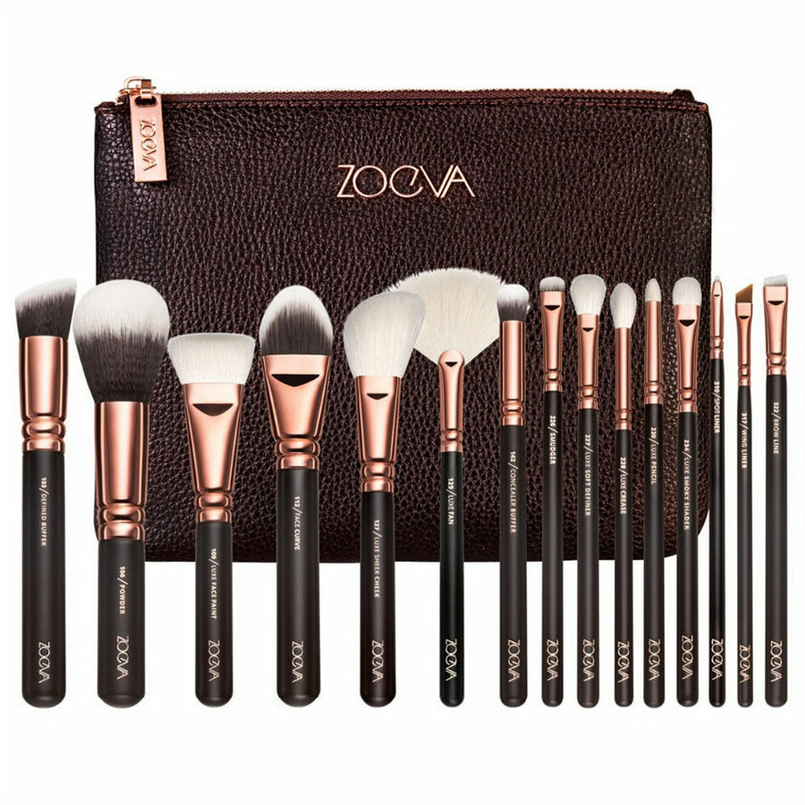 15PCS ZOEVA makeup beauty entire Eye Set Powder Rose Golden Brushes Set Case