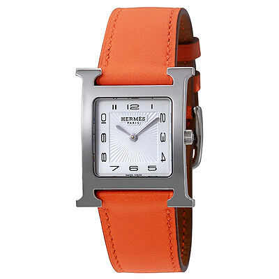 Hermes Hermes H White Dial Ladies Leather Watch 036794WW00