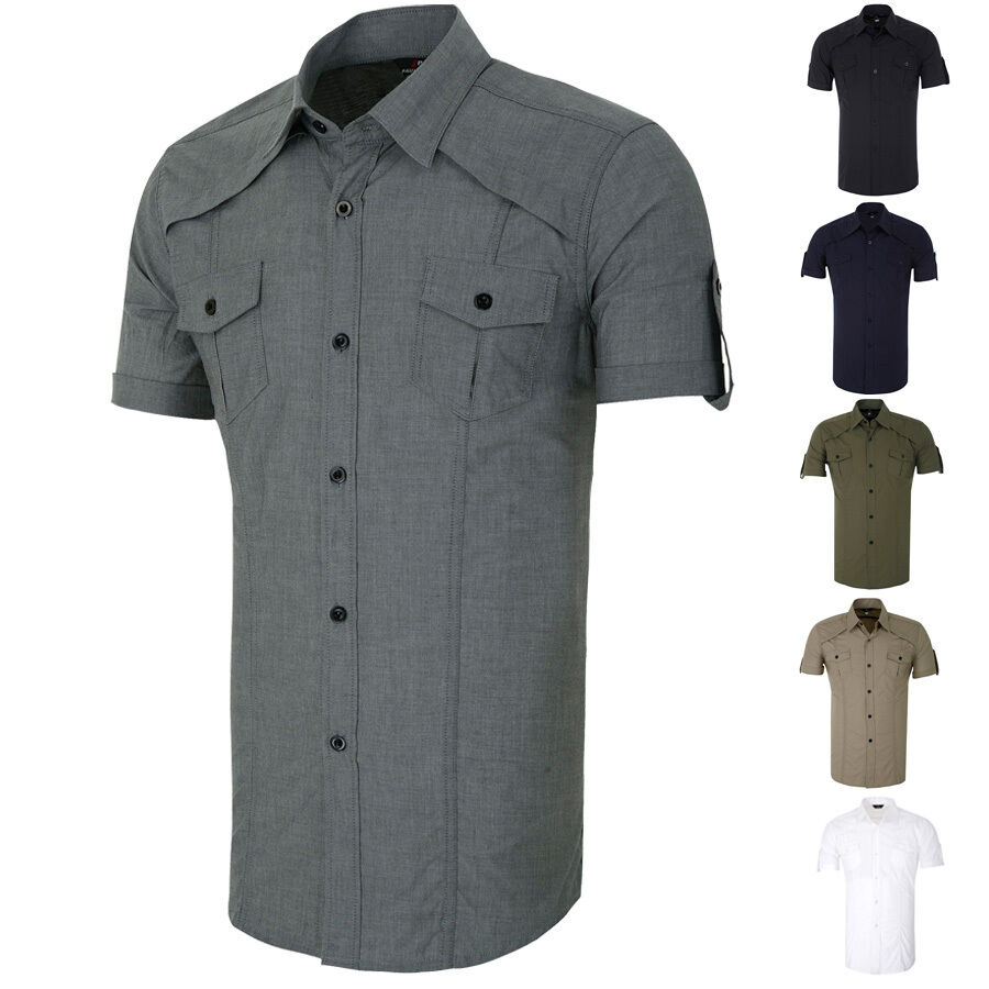 Short Sleeve Mens Button Down Military Casual Shirts Tops