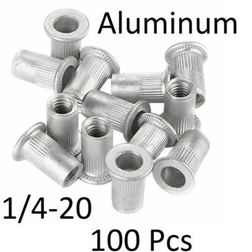 100 Pcs 1/4-20 Aluminum  Flange Nutserts Rivet Nut Rivnut Nutsert