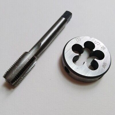 1//2-20 UNF Hand Tap Set and Adjustable Round Die-Taper Plug Bottoming HSS Bright