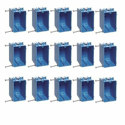 """15 Pcs Single Gang 18"""" Wall Outlet Light Switch New-Work Plastic Electrical Box"""