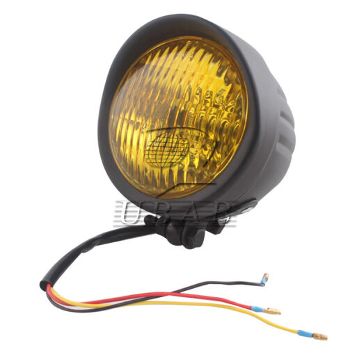 8mm Retro Metal 60W Headlight For Harley Chopper Cafe Racer XL with Amber Lens