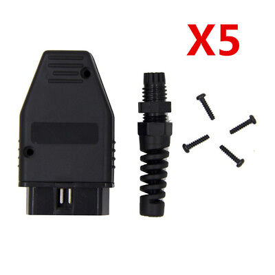 Hardware Combo Kit (5X OBD2 II OBD2 16 Pin Male Connector Diagnostic Adapter Housing Hardware Kit)
