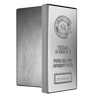 Lot of 2 - 100 oz Royal Canadian Mint (RCM) .9999 Fine Silver Bar