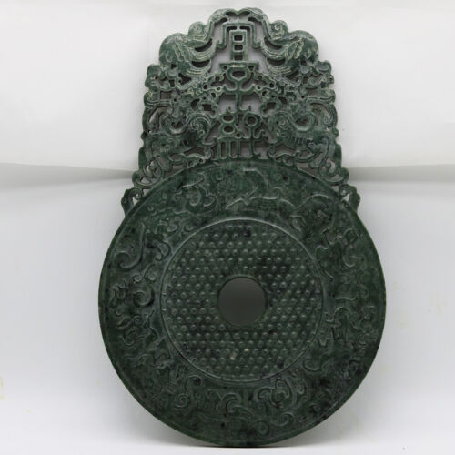Chinese hand carve jade openwork green Disc Bi with Chi dragon human grains D247