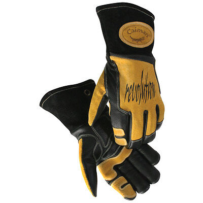 Caiman 1832 Mig/Stick Welding Gloves,Cow Grain Leather, Triple Stitched, Large