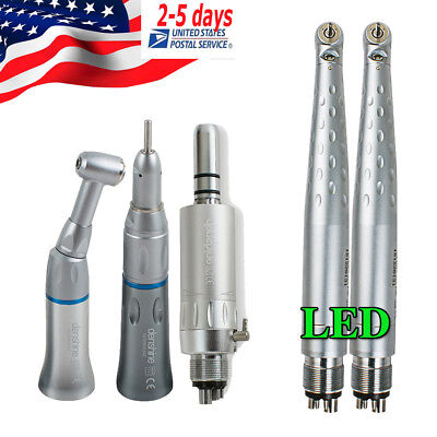 Us 4-hole Push Dental Handpiece Set - 2pcs Led High Speed Hand Piece1 Low Speed