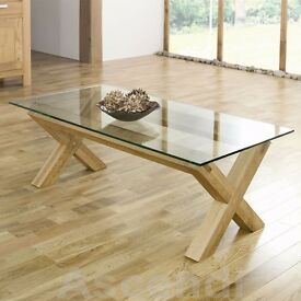 Beautiful Rustic Coffee Table - Luxury Solid American Oak and tempered glass - Large