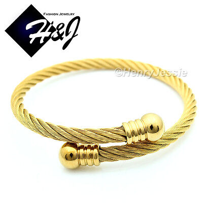 MEN WOMEN Stainless Steel Gold Twisted Cable Adjustable Cuff Bangle Bracelet