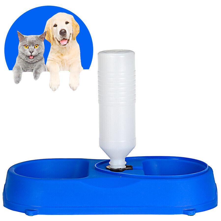 Doppelnapf mit Wasserspender Hund Katze Futter Wasser Bar Napf Station Hundebar