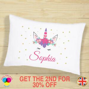 PERSONALISED Cushion Cover Pillow Case Kids Unicorn Gift for Girls Sleepover Kit