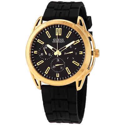 Guess Vertex Chronograph Quartz Black Dial Black Silicone Men's Watch W1177G2