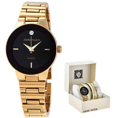 Anne Klein Quartz Crystal Black Dial Ladies Watch and Bracelet Set AK/3382BKST