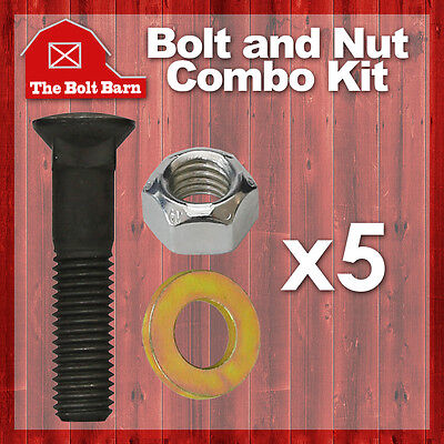 5 58-11x3-12 Grade 8 Dome Head Plow Bolts 58-11 Hex Lock Nuts Washers