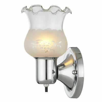 Elegant Chrome Pocket Wall Sconce Glass Shade Indoor Fixture Lamp