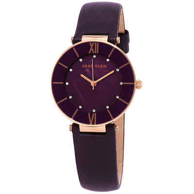 Anne Klein Crystal Dark Plum MOP Dial Ladies Watch AK/3272RGPL