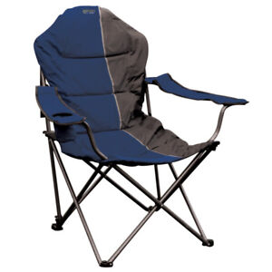 Quest Elite Deluxe Comfort Reclining Folding Chair – Blue, Portable Camping Seat