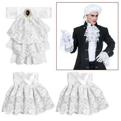 Weißes Jabot mit Manschetten # Spitzenjabot  Barock Rokoko Edelmann Kostüm (Weiße Spitze Kostüm)