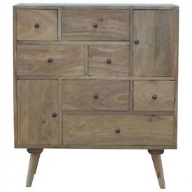 Mid-Century Modern Solid Wood Multi Drawer Chest Cabinet