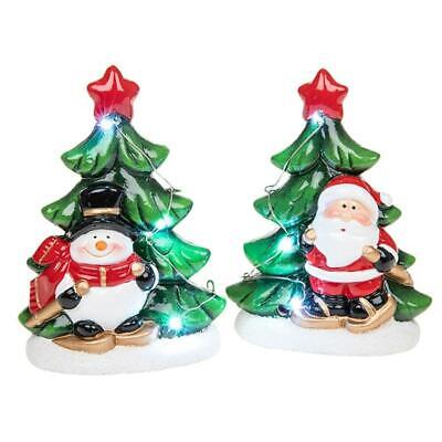2 Pce Boxed Medium Father Christmas Santa Snowman Tree Star Snow LED Light up