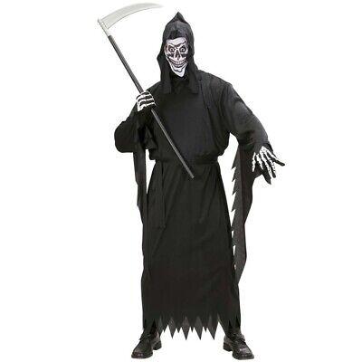 HERREN SENSENMANN KOSTÜM & MASKE Halloween Skelett Knochenmann Verkleidung - Großen Schwarzen Kostüm