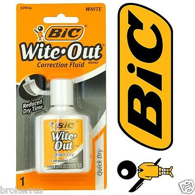 Bic Cover It Wite Out Bottle Foam Brush Quick Dry White Correction Fluid 50604