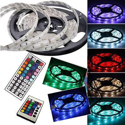 5M 10M 15M 3528 5050 RGB White SMD Light LED Strip 12V LED Strip + 24 / 44Key IR
